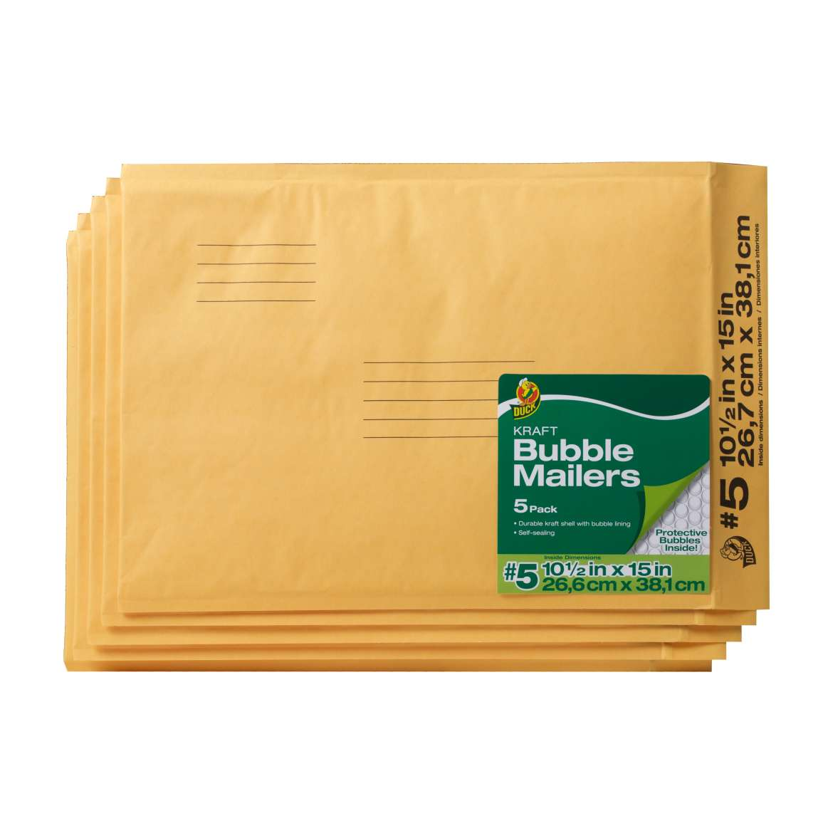 Duck Kraft Bubble Mailers, #5 (10.5 in. x 15 in.), Self-Sealing, 5-Count