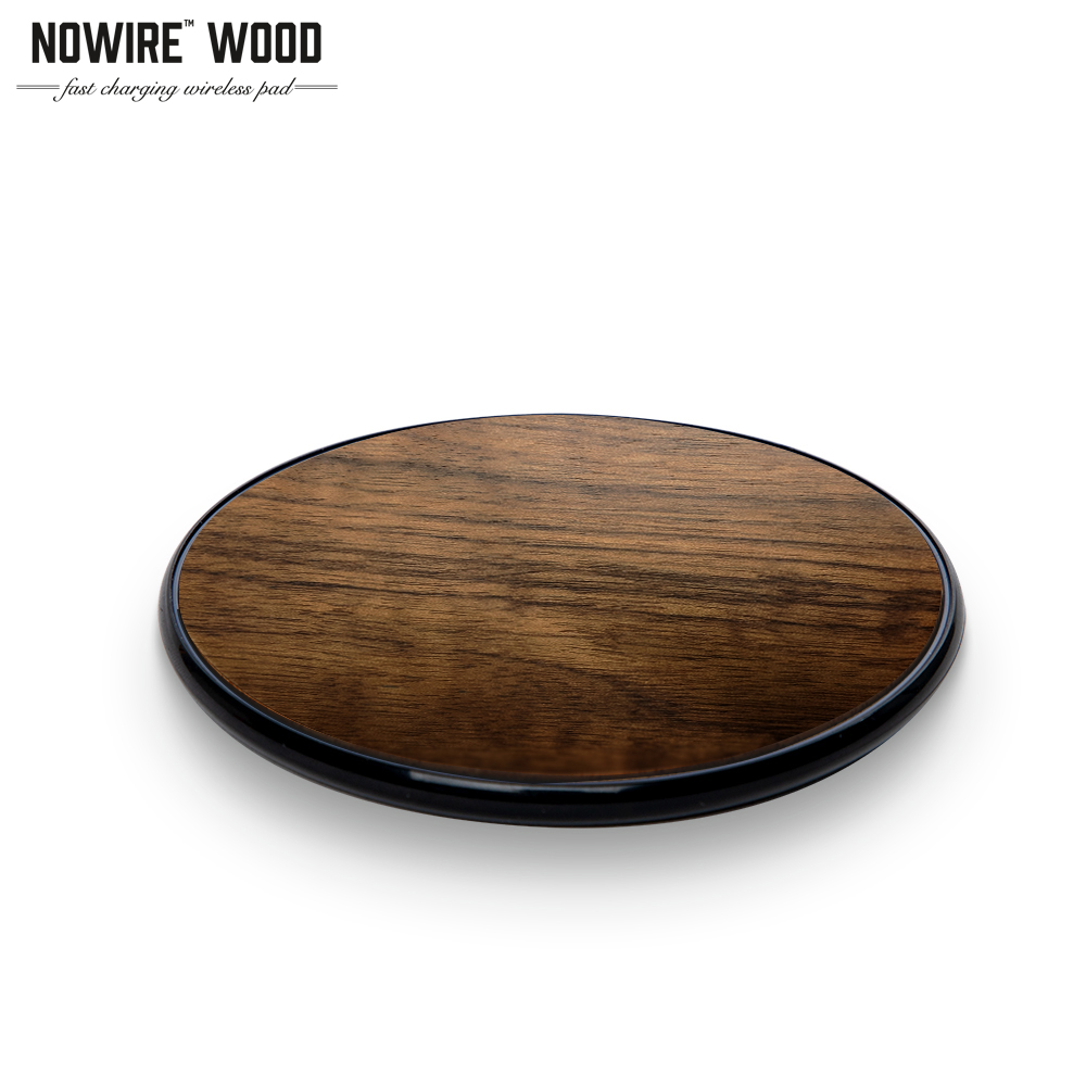 Upcycle No Wire Wooden 10 Watt Wireless Charger - Works with iPhone X, iPhone Xs, and All Qi-Enabled Smartphones - Made with Real Wood (Walnut)