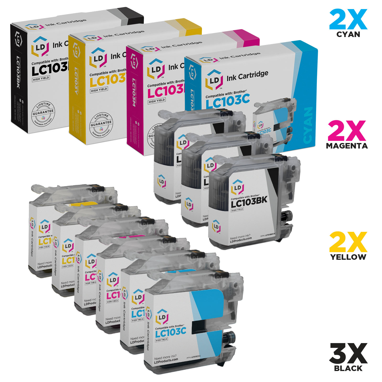 Brother Compatible LC103 Bulk Set of 9 High Yield Ink Cartridges: 3 Black & 2 each of Cyan / Magenta / Yellow