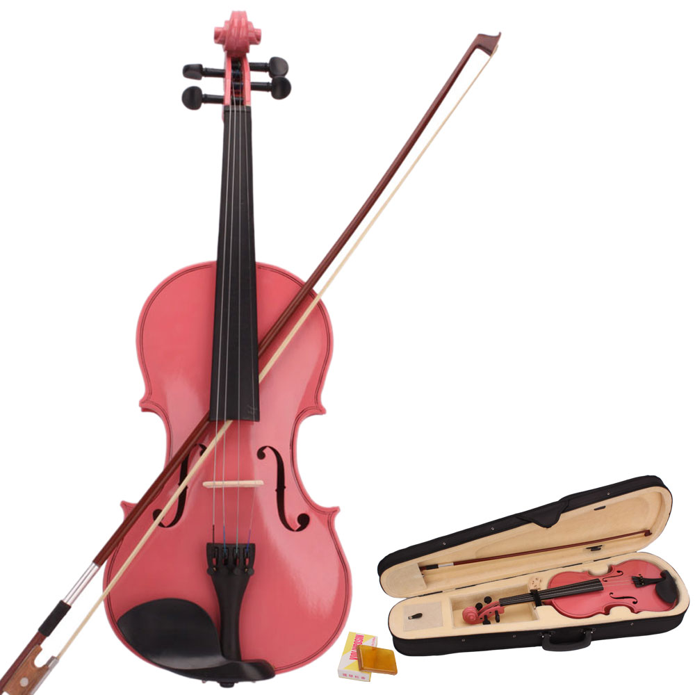 Ktaxon 4/4 Pink Acoustic Violin Fiddle with Hard Case, Bow, Rosin for beginning