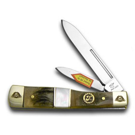 FROST FAMILY 40th Anniversary Ram Horn Mother Of Pearl 1/600 Gunstock Pocket Knife Knives
