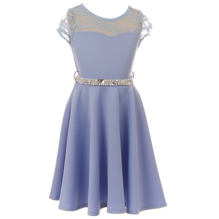 Little Girl Cap Sleeve Illusion Lace Pearl Holiday Easter Party Flower Girl Dress Blue 4 JKS 2153 BNY Corner ()