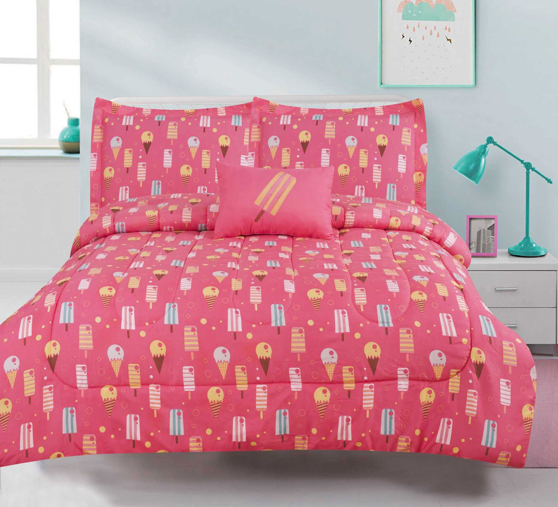 Twin Girls Bedding Ice Cream Cone Comforter 3 Piece Bed Set, Pink Popsicle