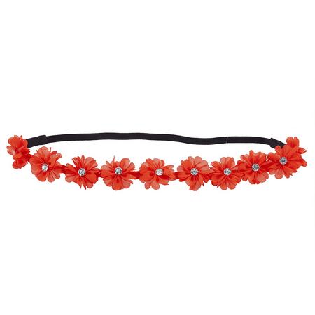 Lux Accessories Orange Chiffon Rhinestone Flower Crown Floral Headband -