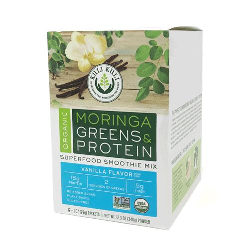 Kuli Kuli Organic Moringa Greens & Protein Powder, Vanilla, 12 Ct
