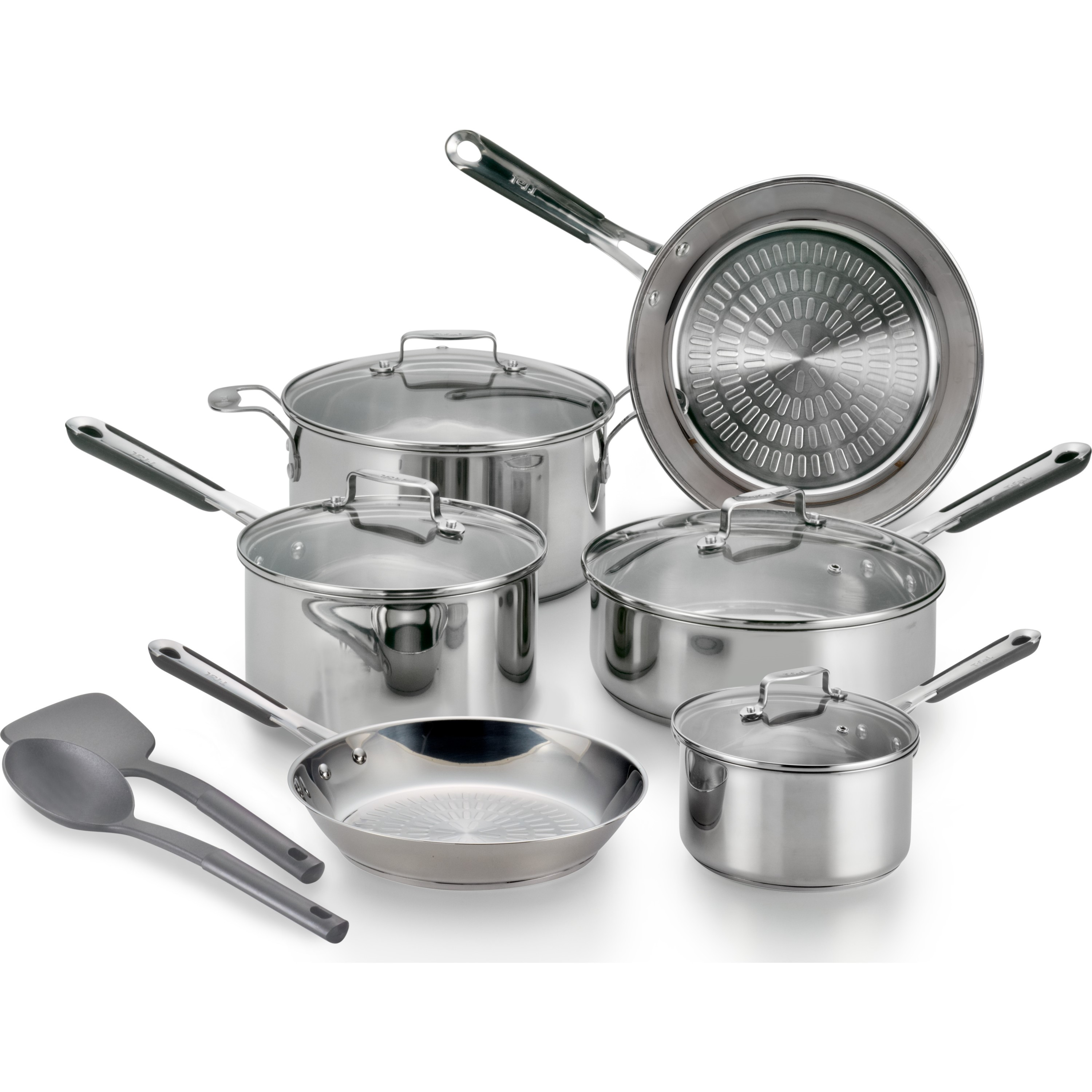 t fal expertpro stainless steel e759sc64 techno release induction compatible cookware 12 pc. Black Bedroom Furniture Sets. Home Design Ideas