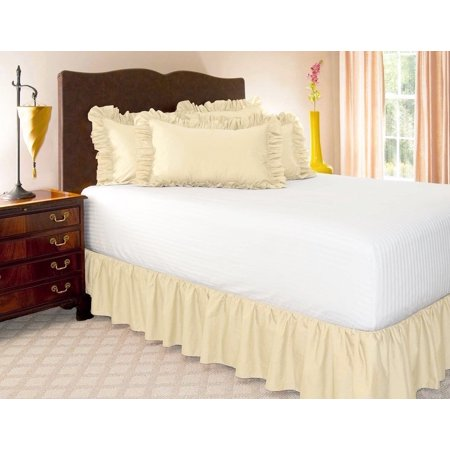 Beading Skirt - TWIN IVORY BEIGE Solid Bed Bedding Skirt Soft 100% Soft Smooth Microfiber Pleated-Only on 4 Corners