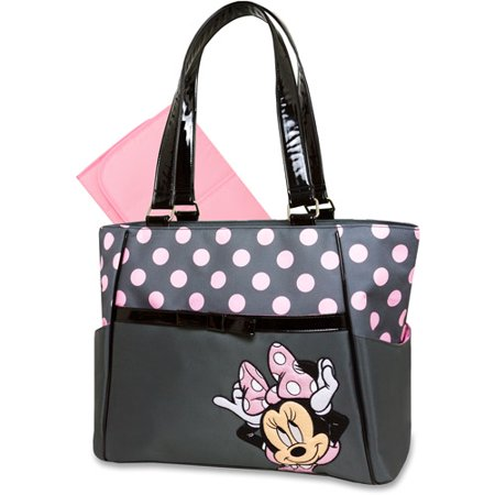 Disney Baby Minnie Mouse 2 In 1 Diaper Bag Gray Pink Dot