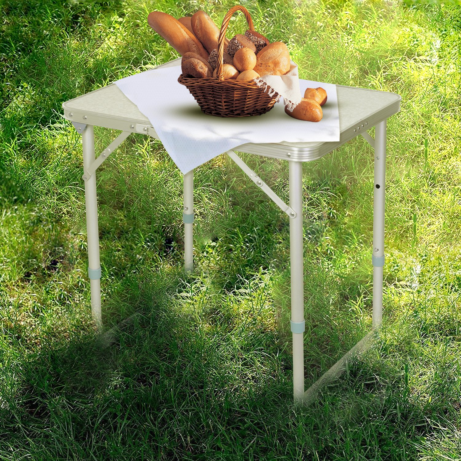 Folding Camping Table Adjule Portable Picnic Height With Handle Party On Clearance