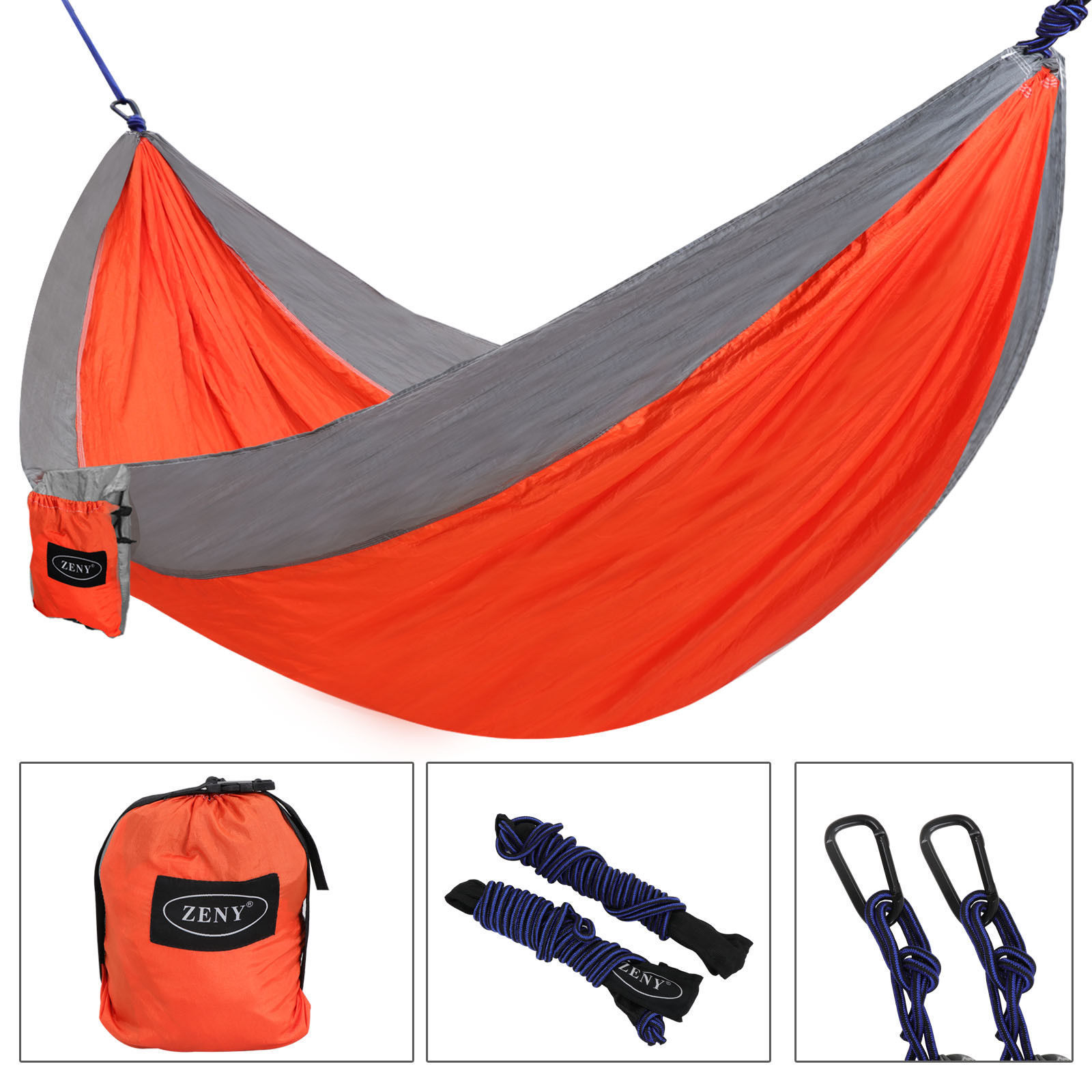 Zeny Double Camping Hanging Hammock With Hammock Tree Straps,Portable Parachute Nylon Hammock For Backpacking travel