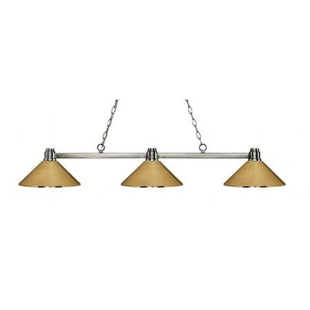 3 Light Island, Billiard Light With Polished Brass Metal Shades