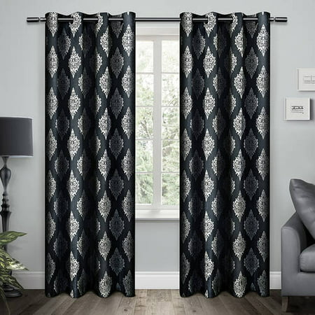 Exclusive Home Damask Indigo Grommet Top 54 X 96 Inch Curtain Panel Pair
