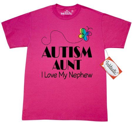 Inktastic Autism Aunt I Love Nephew T-Shirt Aspergers Autistic Spectrum Disorder Awareness Pdd Walk Event Support Pdd-nos Asd Ribbon Puzzle Butterfly Mens Adult Clothing Apparel Tees T-shirts Hws - Butterflies Clothing