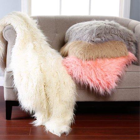Best Home Fashion Ivory Mongolian Lamb Faux Fur Throw Blanket 58 Fur Fashion Photo