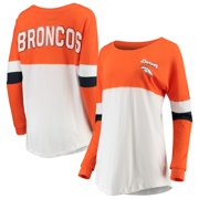 Denver Broncos New Era Women's Athletic Varsity Long Sleeve T-Shirt - Orange/White