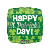 """Anagram Happy St. Patrick's Day Shamrock Covered 18"""" Foil Balloon, Green"""