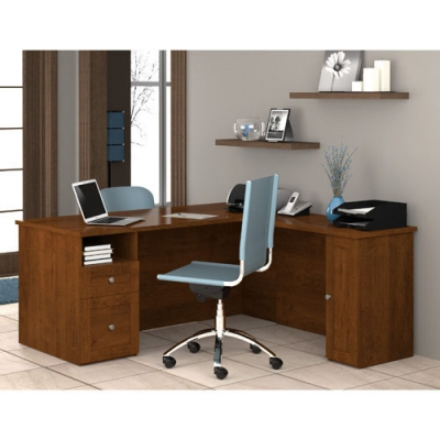 Bestar Mason L-shaped workstation in Tuscany Brown BER8442063