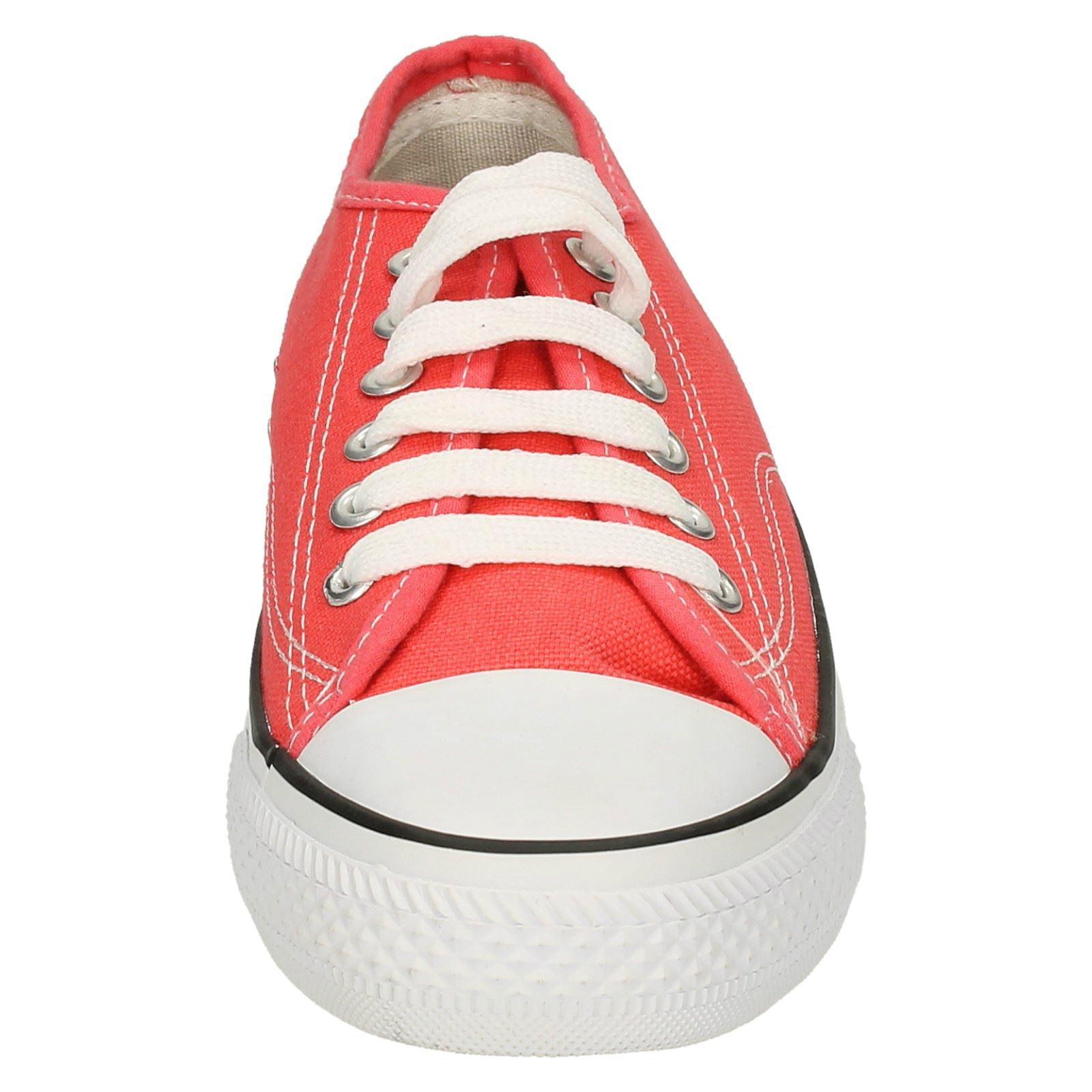 Spot On Ladies Canvas Lace Shoes