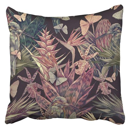 CMFUN Beautiful Vintage Floral Tropical Palm Leaves Trees Flowers Jungle Leaf Plants Cactus Pillow Case Cushion Cover 18x18 inch - Cactus Jungle