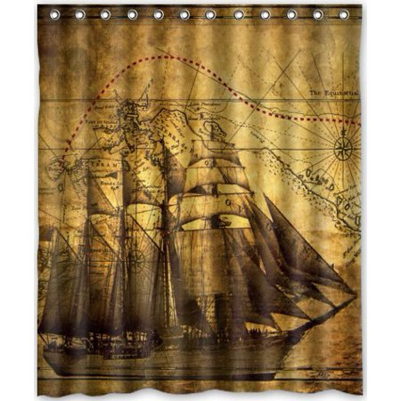 MOHome Nautical Vintage Sailing Pirate Ship Theme Shower Curtain Waterproof Polyester Fabric Shower Curtain Size 60x72 inches - Nautical Themed Fabric