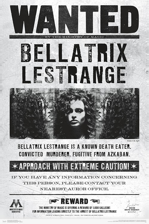 image about Harry Potter Wanted Poster Printable identify Harry Potter - Desired Bellatrix Poster Print
