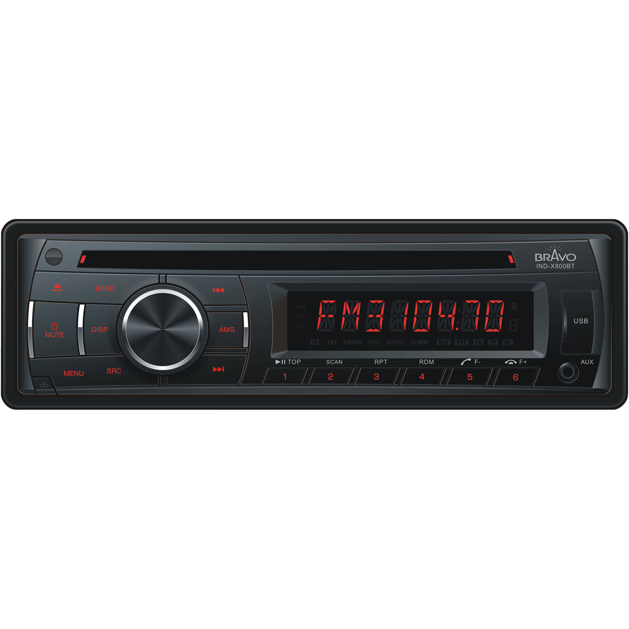 Bravo View IND-X800BT - In-Dash CD/MP3 Receiver with Bluetooth and