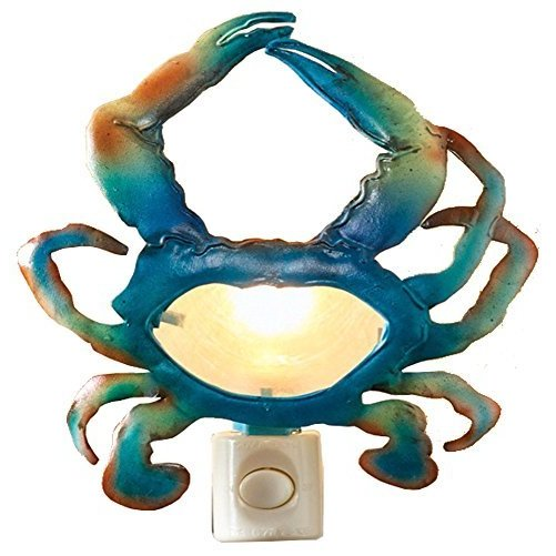 Blue Crab Night Light Painted Cut Metal with Capiz Shell 5 Volt