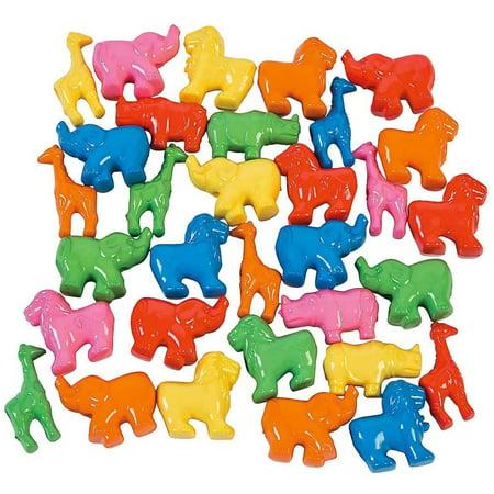 - Set of 200 Elephant, Lion, Giraffe Zoo Animal Pony Beads
