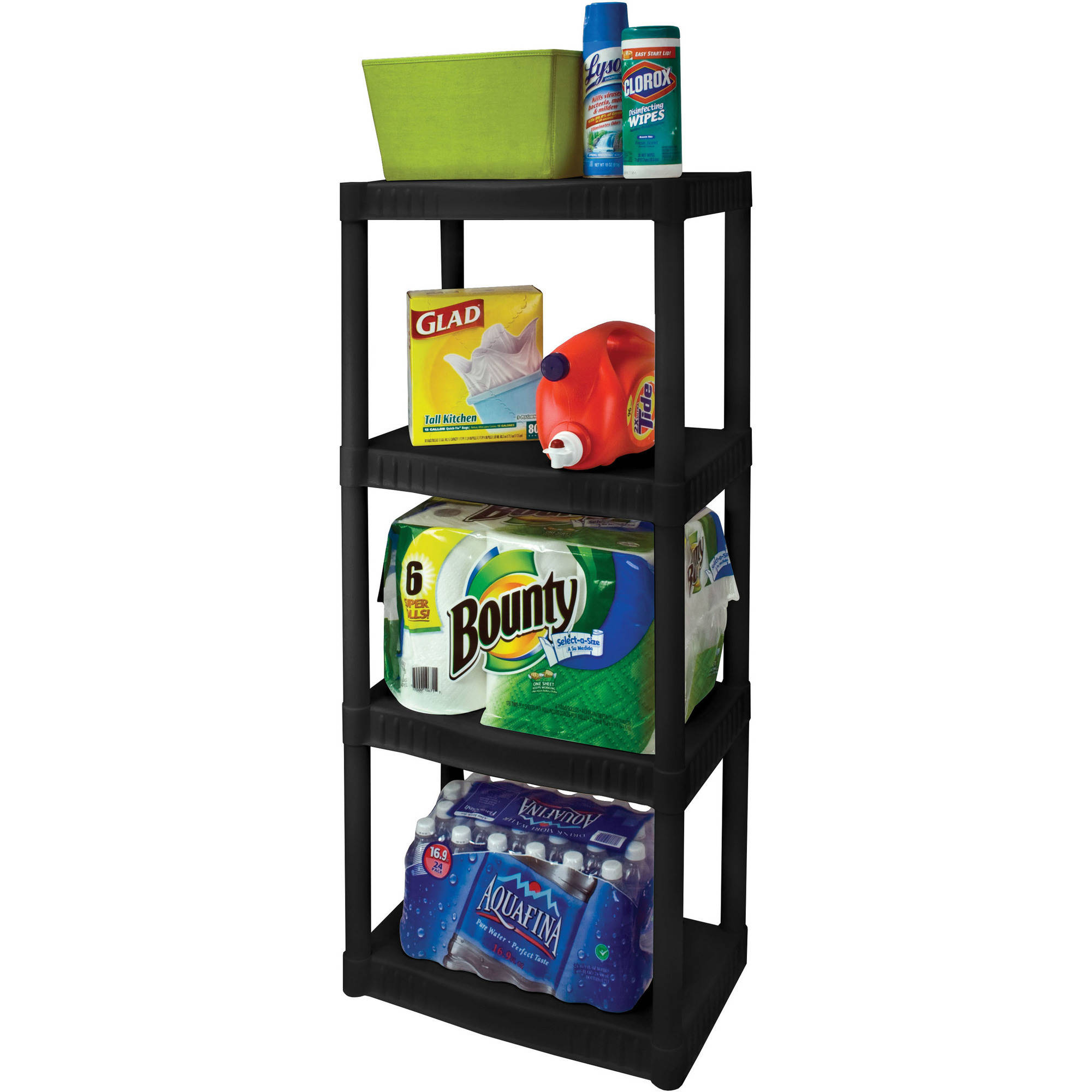 "Plano 4-Tier Heavy-Duty Plastic Shelves, Black  14"" X 22"" Shelves"