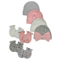 Gerber Organic Baby Girl Mittens and Caps Bundle, 8pc