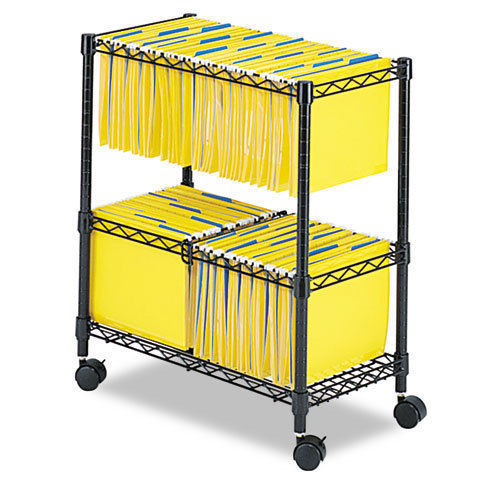 Zimtown 2 Tiers Layer Metal Rolling Mobile File Cart Office Supplies w/ Wheels Black