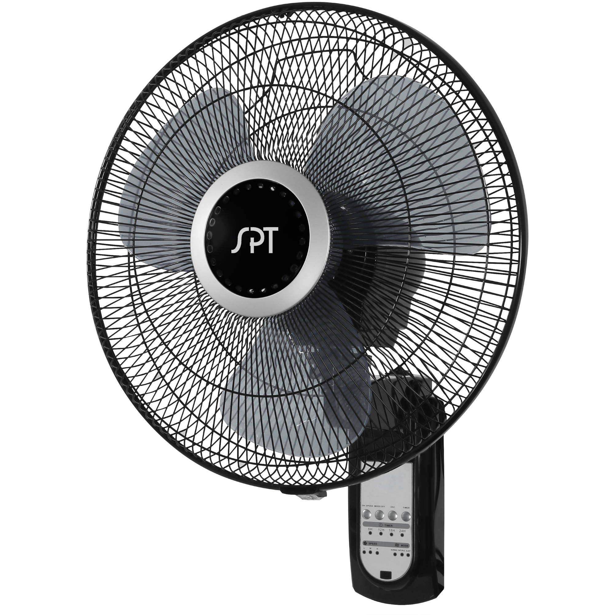 """16"""" Wall Mount Fan with Remote Control, Black"""