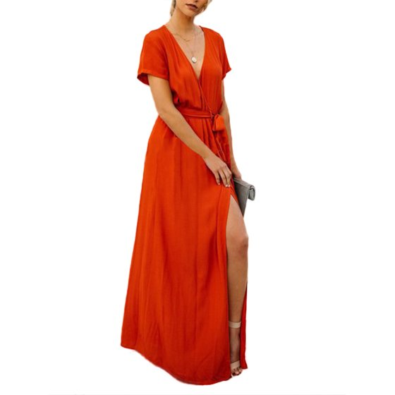 DYMADE - DYMADE Women s V-Neck Cross Over High Slit Cocktail Evening Gown  Maxi Dress With Adjustable Belt - Walmart.com 7d84de85e