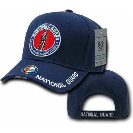 Guard Emblem - RapDom U.S. National Guard Round Emblem Deluxe Mens Cap [Navy Blue - Adjustable]