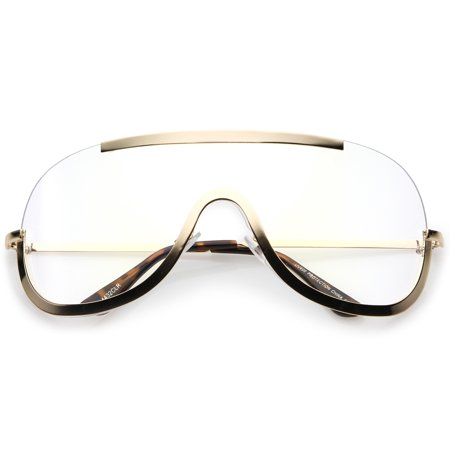 Oversize Semi Rimless Metal Trim Clear Mono Lens Shield Eyeglasses 78mm (Gold / Clear)