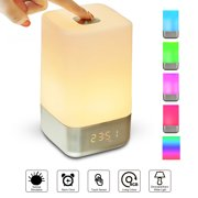 Wake up Light Alarm Clock, Finether Sunrise Alarm Clock with 5 Nature Sounds,USB Rechargeable Control Atmosphere Lamp Dimmable Color Night Light for Women Children