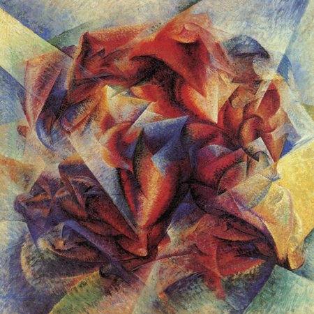 Abstract Figurative Paintings - The Dynamism of a Soccer Player Modern Red Abstract Figurative Painting Print Wall Art By Umberto Boccioni