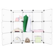 LANGRIA 9-Cube Interlocking Modular Storage Organizer Shelving System Closet Wardrobe Rack with Door