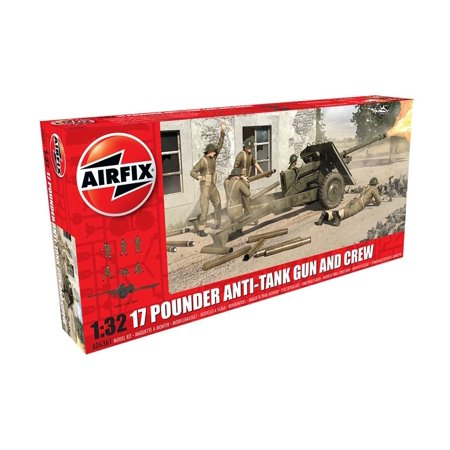A06361 17 Pounder Anti-Tank Gun & Crew Plastic Model Kit (1:32 Scale),  1:32nd Scale WWII Military Gun Plastic Model Kit & 6 Crew Figures By Airfix