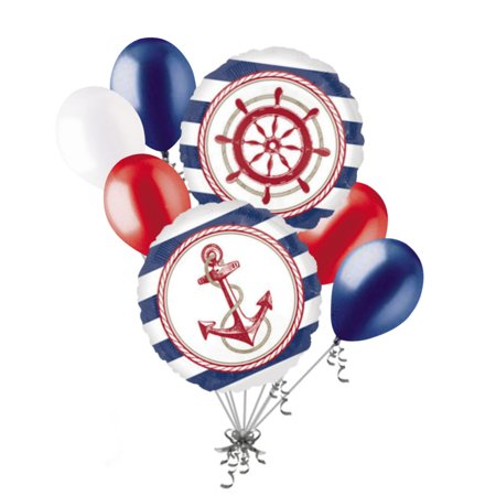 Anchor Party Decorations (7 pc Anchors Aweigh Nautical Balloon Bouquet Party Decoration Birthday Baby)