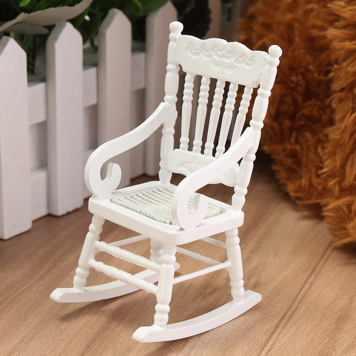 1:12 Dollhouse Miniature Wooden Rocking Chair Furniture Accessories Decor ToysDS
