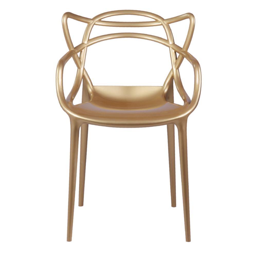 Modern Contemporary Urban Design Kitchen Dining Side Chair, Gold, Plastic