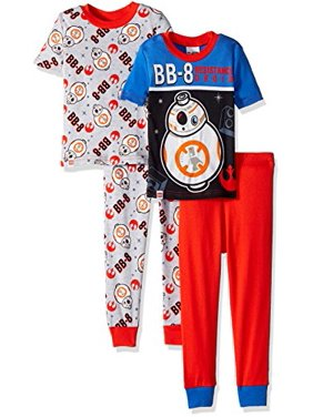 LEGO Star Wars Little Boys BB-8 Droid, Glow In The Dark 4-Pc Cotton Pajama Set, Black/Blue, Red Pant, 10