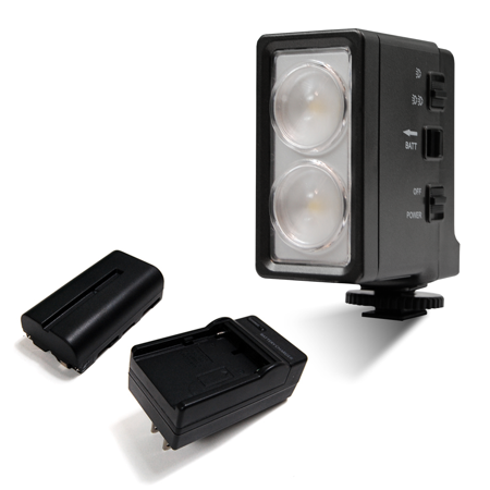Loadstone Studio 5600K LED Continuous Video Photo Light with Shoe Mount Camera Adapter, Day Light Balance, Full Spectrum, Battery and Charger Included, Photography Studio, WMLS4299 (Camera Video Light)