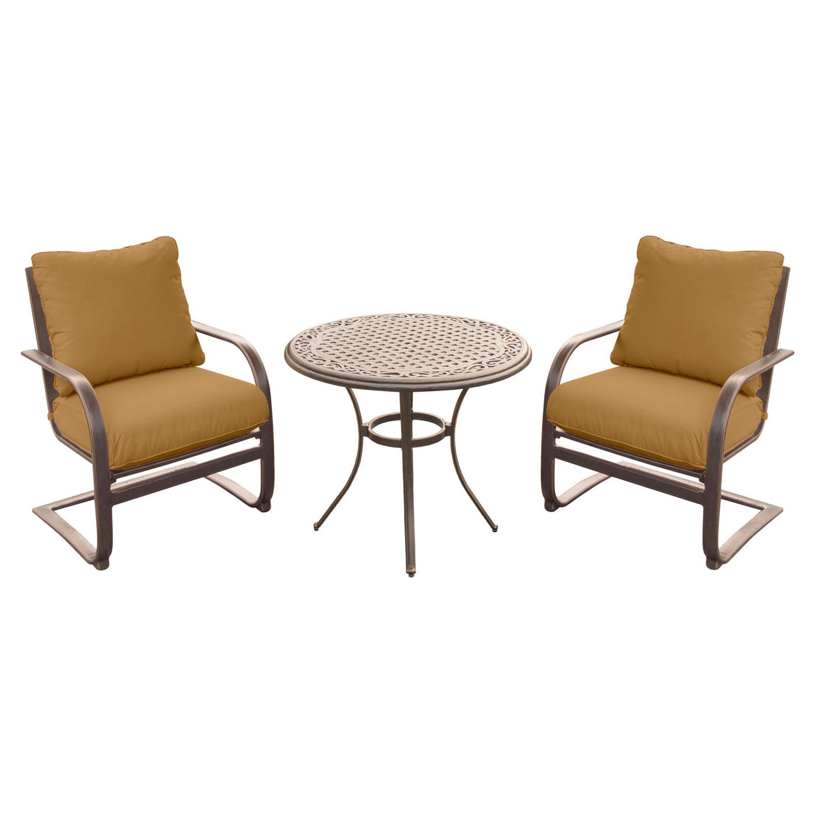 Hanover Outdoor Summer Nights 3-Piece Chat Set with Cast-Top Table and C-Spring Chairs in Desert Sunset
