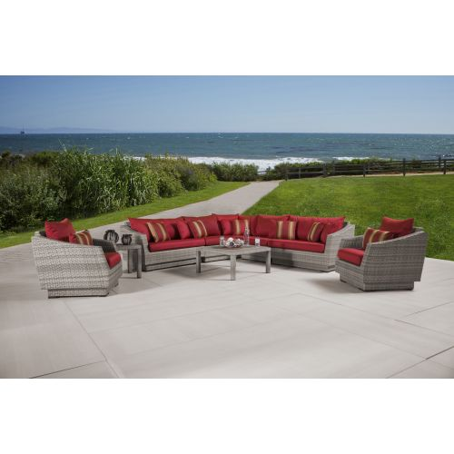 RST Brands Cannes 9pc Sectional and Table Bliss Blue Cannes 9pc Chat Set with Cu