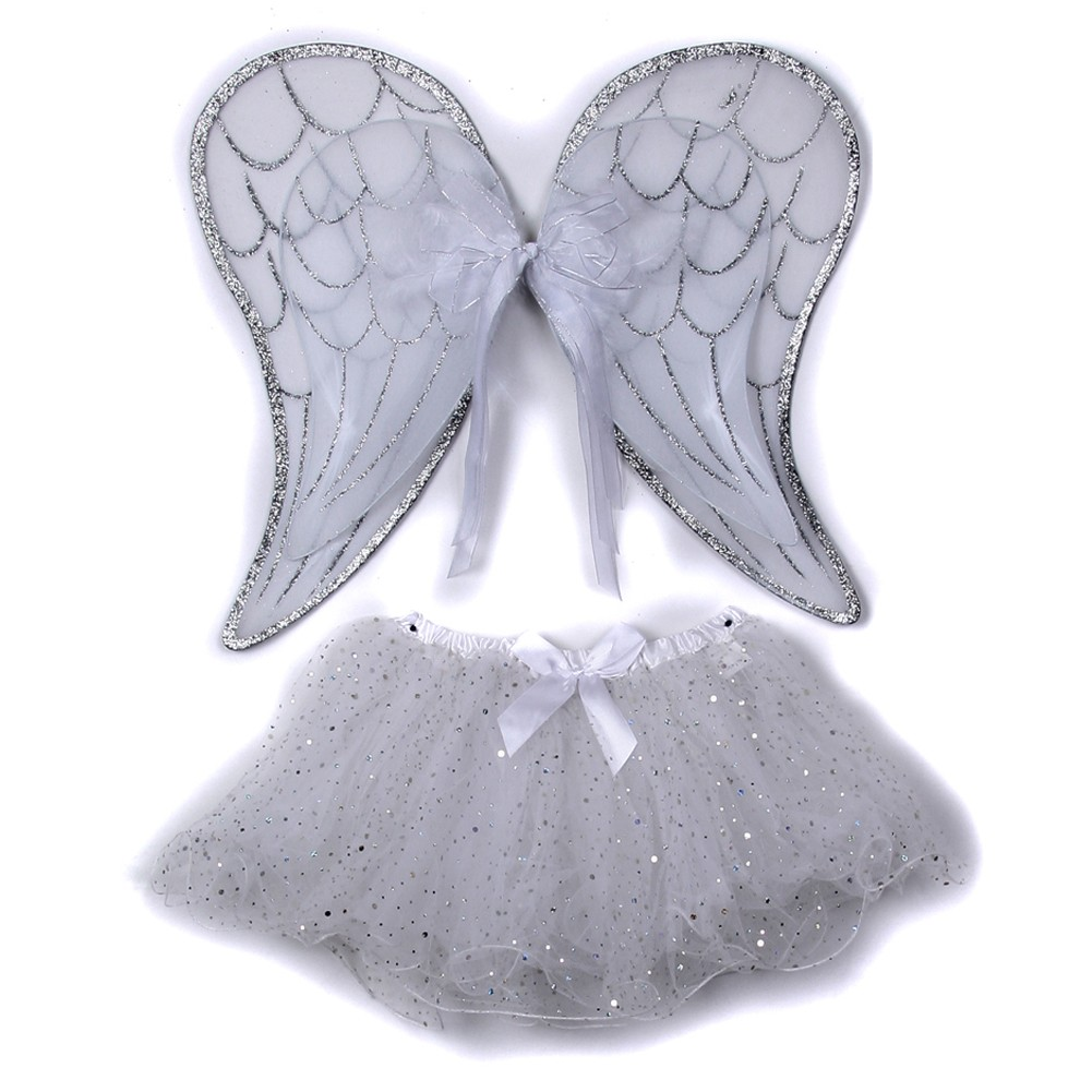 Little Girls White Angel Wings Glitter Skirt 2 Halloween Costume Set 2-5T