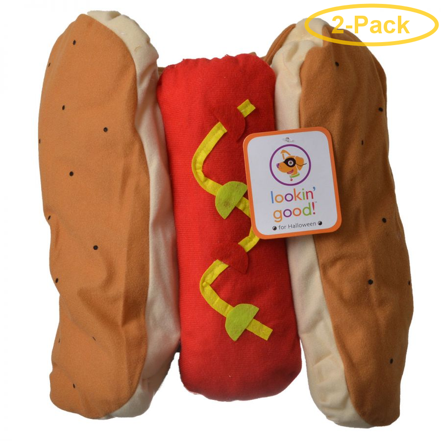 Lookin' Good Hot Dog Dog Costume Medium - (Fits 14-19 Neck to Tail) - Pack of 2