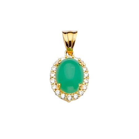 Ioka - 14K Yellow Gold Jade Gemstone Charm Pendant For Necklace or Chain