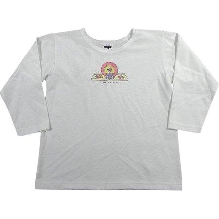 Mulberribush - Little Girls Long Sleeve Tea Set Shirt, White WHITE / 4 (Little Girl China Tea Sets)